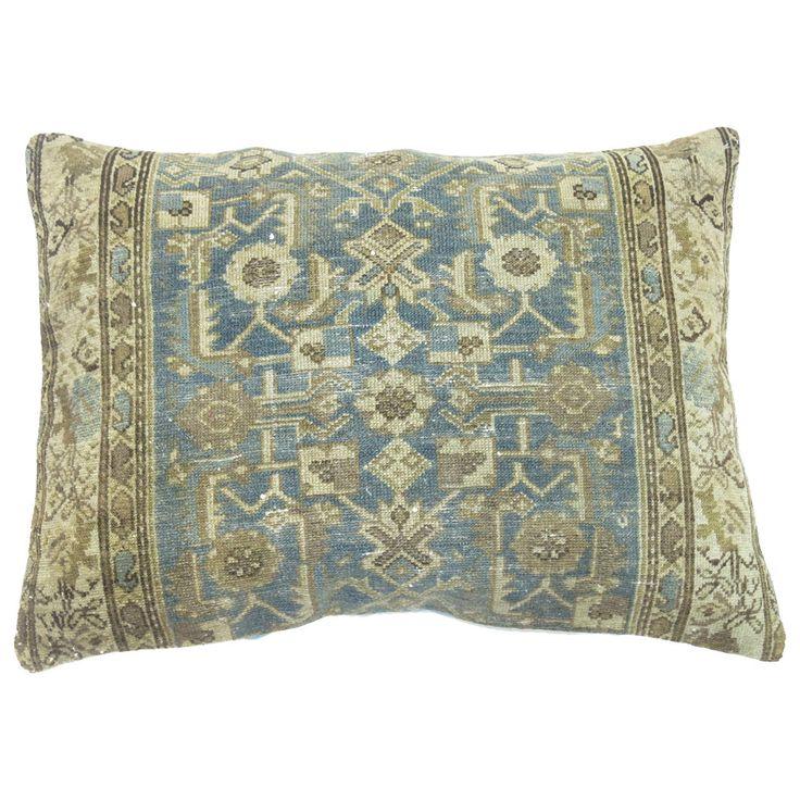 Light Blue Persian Malayer Rug Pillow