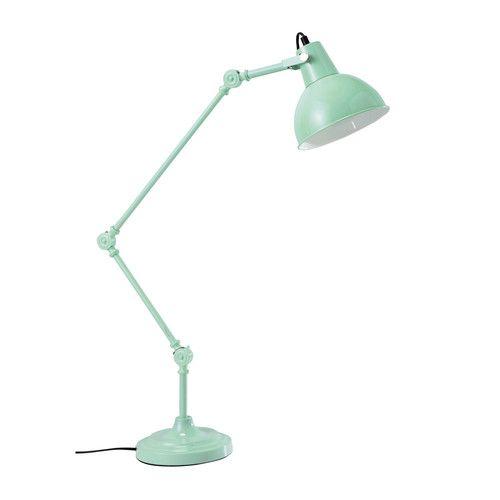 Lampe de bureau articulée en métal bleu pastel H 81 cm KONRAD