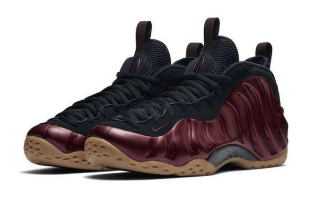 Detailed photos of and release date for the Nike Air Foamposite One Night Maroon colorway (color: Night Maroon/Black-Gum Light Brown-Night Maroon style: 314996-601).
