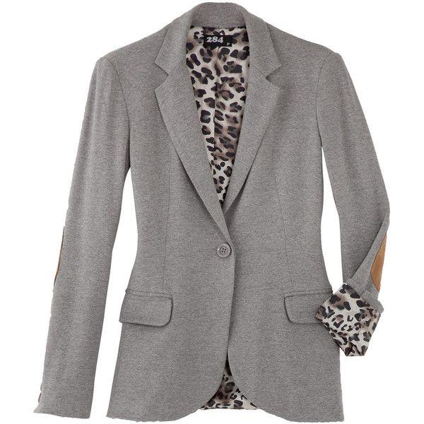 Blazer mescla moletom cotoveleira - 284 ❤ liked on Polyvore featuring outerwear, jackets, blazers, tops and blazer jacket