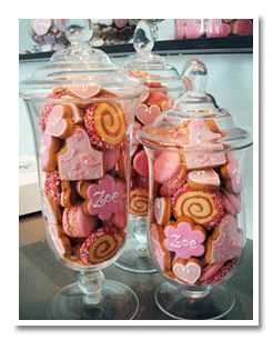 cookie table displays for weddings | Edible Centerpiece made with pretty pink wedding cookies