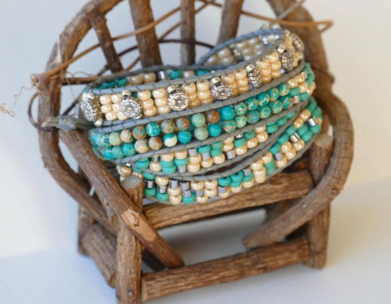 Turquoise Cream & Silver Wrap Bracelet by BaysideBlissDesigns