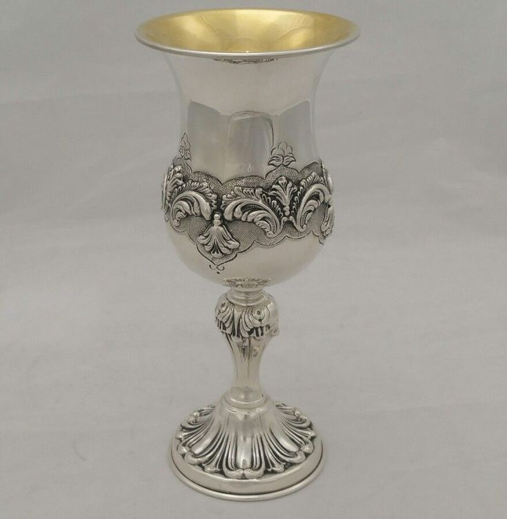 NEW Solid Silver Sterling 925 Elijah Cup Wine Goblet Chalice Passover Judaica