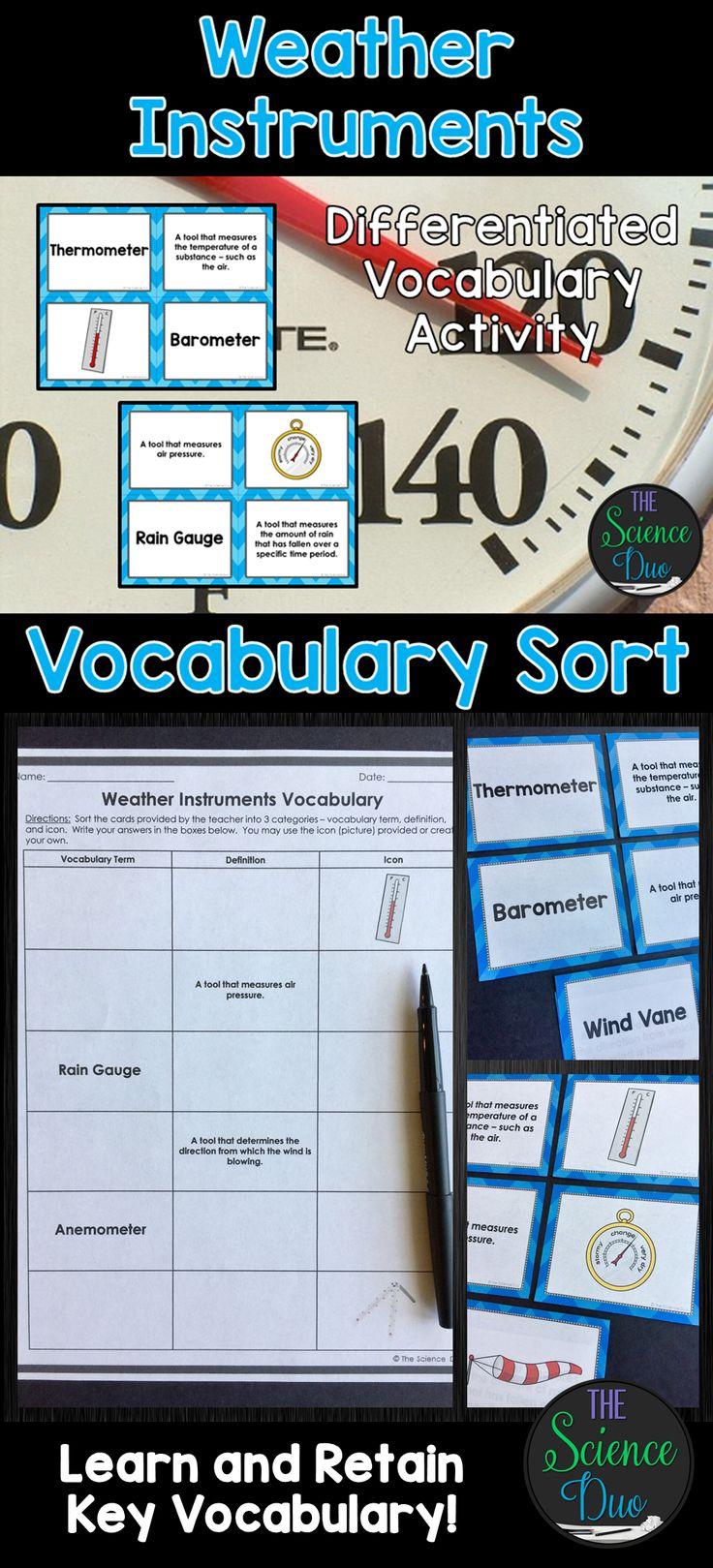 Weather Instruments Vocabulary Sort Weather Instruments Weather Vocabulary Interactive Vocabulary [ 1619 x 736 Pixel ]