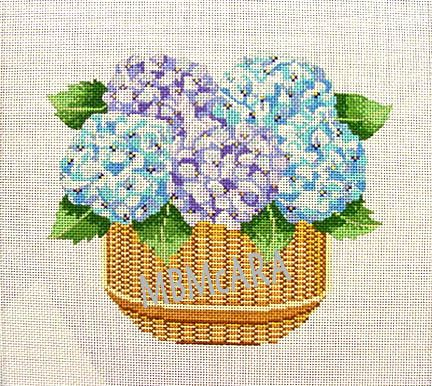 Hydrangeas in a Nantucket Basket, handpainted on 13 mesh. found at needlepointdesigns.com