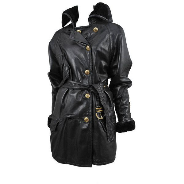 Preowned Versace Leather Over Coat ($3,800) ❤ liked on Polyvore featuring outerwear, coats, black, versace, leather coats, over coat, versace coat and genuine leather coat