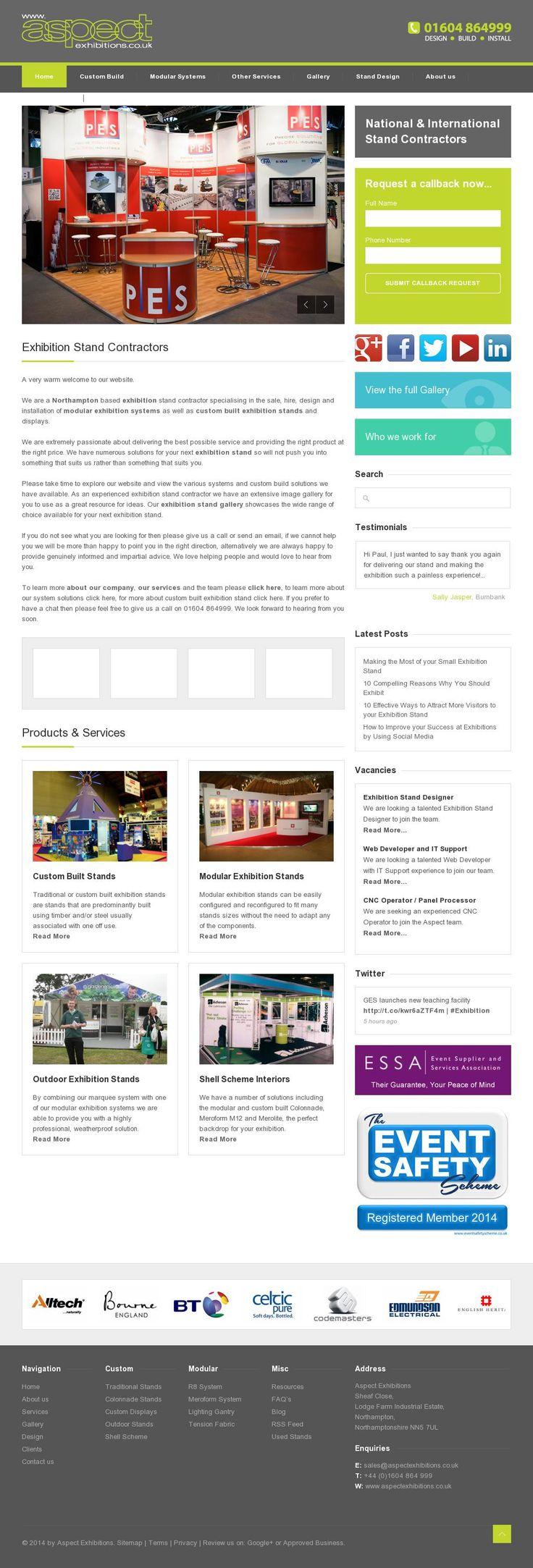 The website 'www.aspectexhibitions.co.uk'
