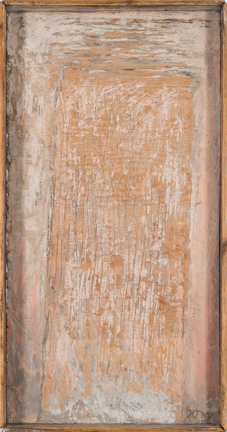 Kain Tapper: Reliefi, 1989, öljy puulle, 61x33 cm - Bukowskis 2015