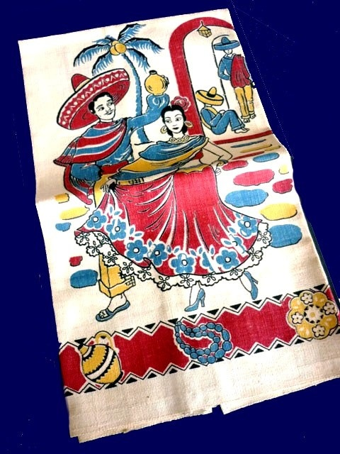 Items Similar To Vintage Mexican Linen Never Used Kitchen Towel With Senor,  Senorita And Pottery In Red, Blue And Yellow Screen Print On Etsy