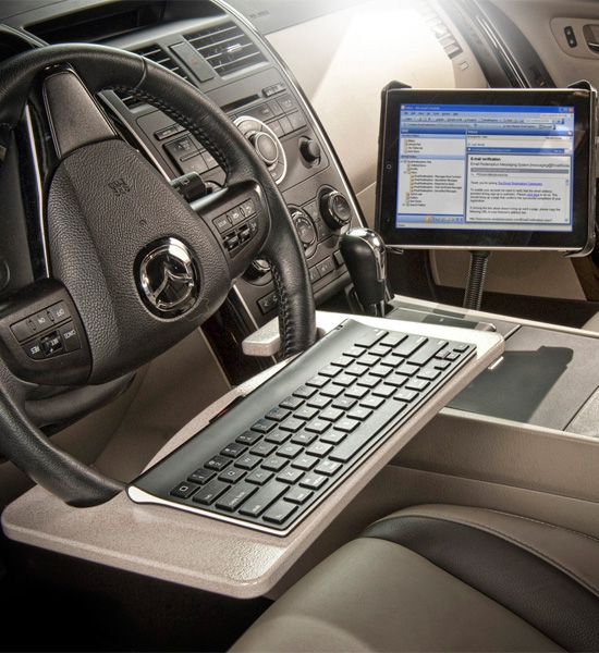 Create a workstation in your car so you can work on the go with this Steering Wheel Desk and Tablet Mount.