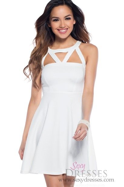Snowflake Short White Skater Dress