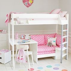 Merlin High Sleeper - White (with Pink Star sofa bed) - Cabin & Mid Sleeper Beds - Beds