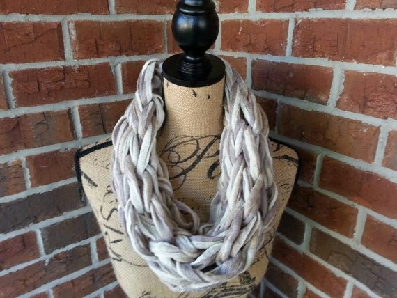 Tan and Gray Arm knitted scarf neutral scarf knit scarf infinity cowl Bulky arm knit scarf multicolor infinity scarf fashion scarf by KatesHandiwork #madeinwisconsin #wisconsinmade