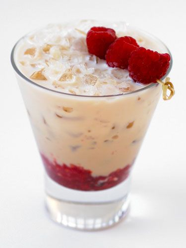 Baileys and raspberry on the rocks! Perfect Dessert!
