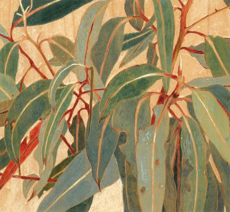 "huariqueje:  ""  Gum Leaves, (Detail painting) - Cressida Campbell , 2000  Australian,b.1960-  watercolour on hand-incised woodblock , 30.5 x 32.5 cm  """