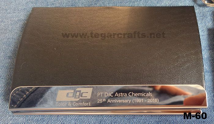 M60: a business card holder to commemorate the 25th company anniversary, which will be distributed to the directors, managers and all atendees. Ordered by PT DIC Astra Chemical, Jakarta.