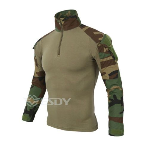 Mens-Quick-Dry-Outdoor-Sports-Tactical-Hunting-Camouflage-Shirts-Tops-4-Colors