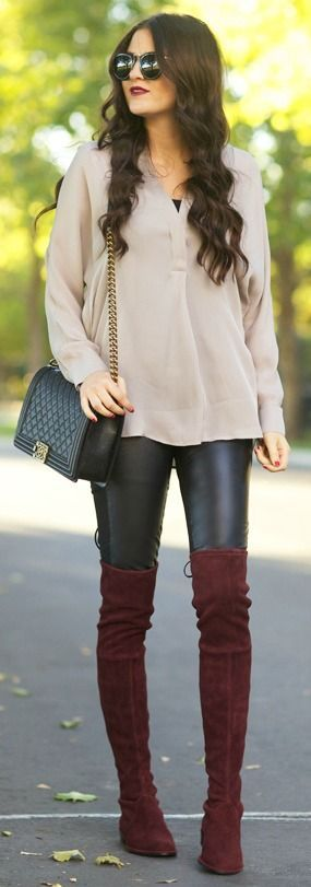 Street style | Neutral blouse, leather leggings and burgundy over the knee boots