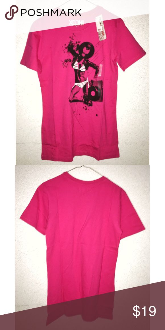 NWT - Pink Bikini Babe Graphic Tee New with tags never worn before men's size small pink graphic T-shirt with a girl in a bikini with the stereo size small from the brand XOCHI Los Angeles @ urban outfitters PacSun Shirts Tees - Short Sleeve