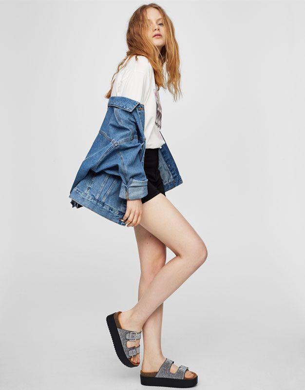 Pull&Bear - mulher - sapatos - sandália tacão - sandália bloco fantasia - prata - 11970211-V2017