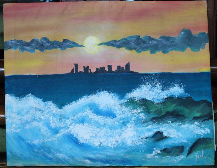 #9 Oil Painting belajar melukis ombak