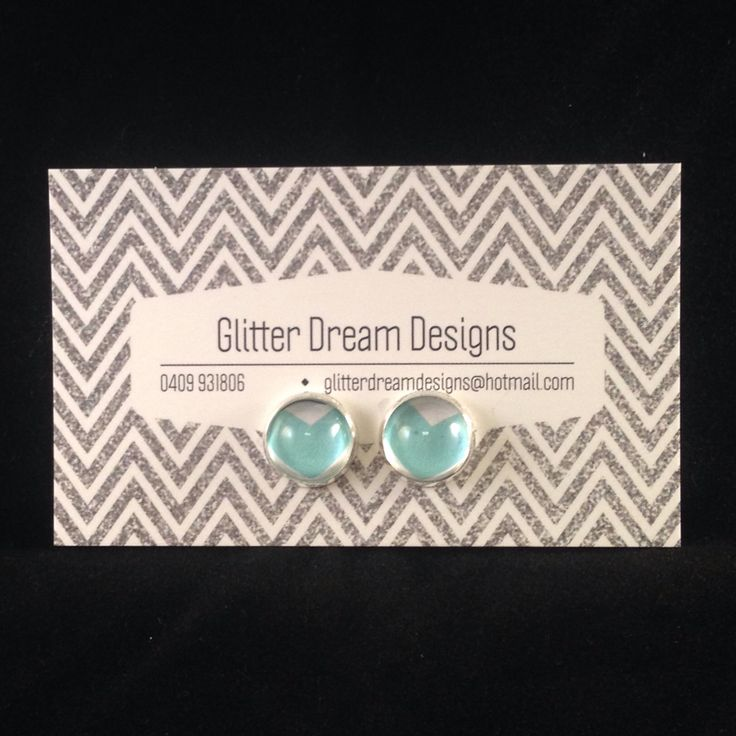 Order Code B6 Blue Cabochon Earrings