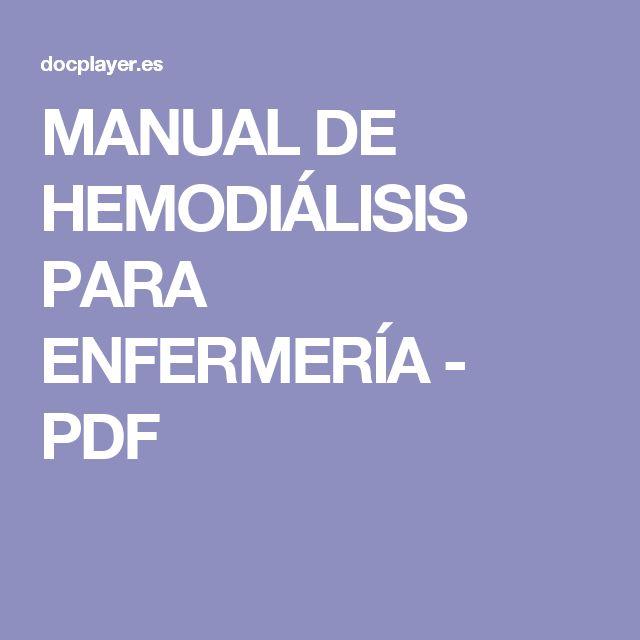 MANUAL DE HEMODIÁLISIS PARA ENFERMERÍA - PDF
