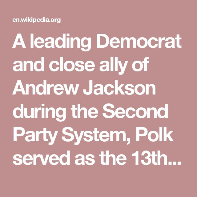 A leading Democrat and close ally of Andrew Jackson during the Second Party System, Polk served as the 13th Speaker of the House of Representatives from 1835 to 1839, making him the only president to have served as House Speaker. He left Congress to serve as Governor of Tennessee from 1839 to 1841. After losing re-election as governor in 1840, and losing in another gubernatorial election in 1842, Polk was a dark horse candidate for president in 1844