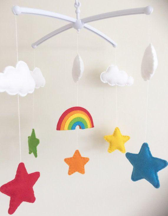 Rainbow Clouds & Stars Musical Cot Mobile Rainbow Nursery