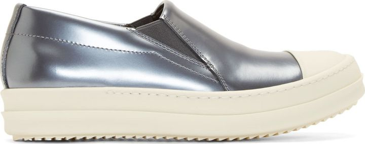 $628, Silver Leather Slip-on Sneakers: Rick Owens Silver Leather Boat Slip On Sneakers. Sold by SSENSE.