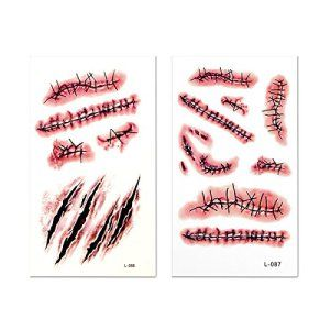 Ckeyin ®10Pcs Halloween Fausse Plaie Zombie Scars et de faux Maquillage Scab sang Costume Special
