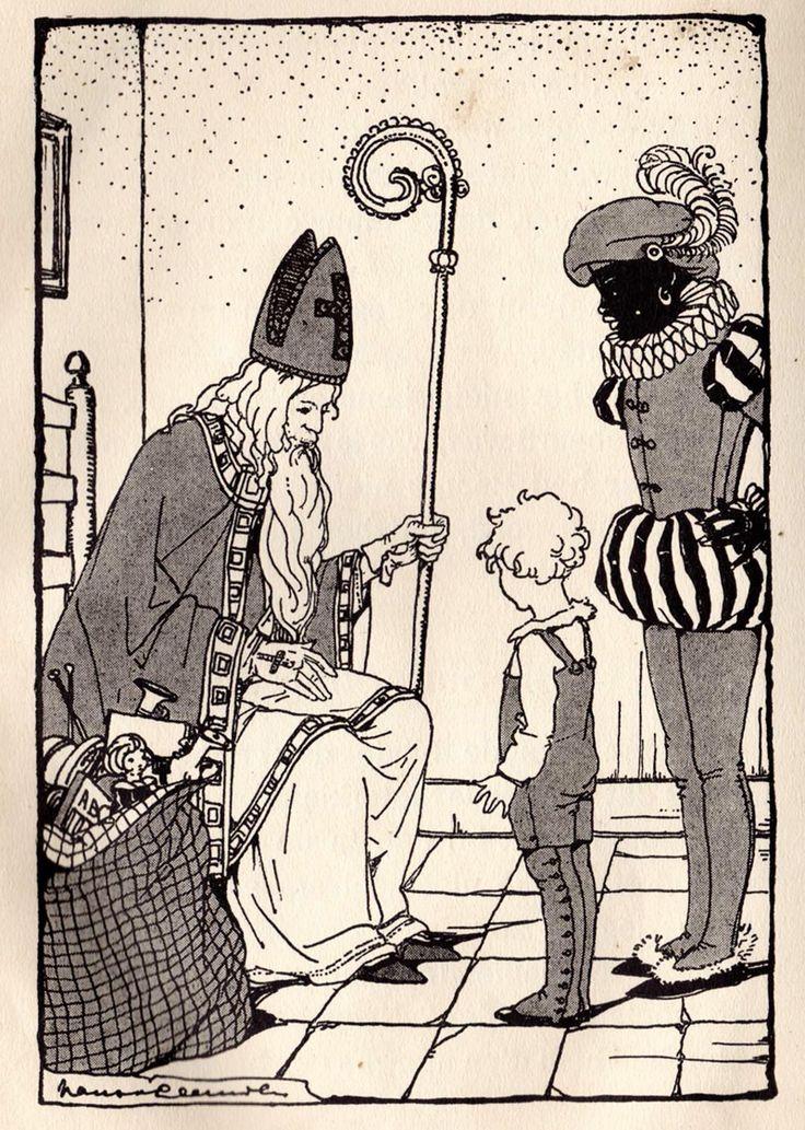 """illustratie Sinterklaasavond, door Nans van Leeuwen, uit oud schoolboekje """"Zonnige jeugd"""""""