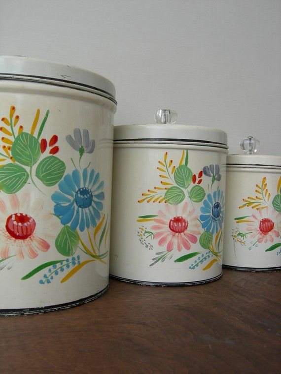 Ransberg Tins, vintage canisters with pink and turquoise flowers... 3 of 4 canisters... adding to the Laundry board to show it has a matching soap canister that matches this set...