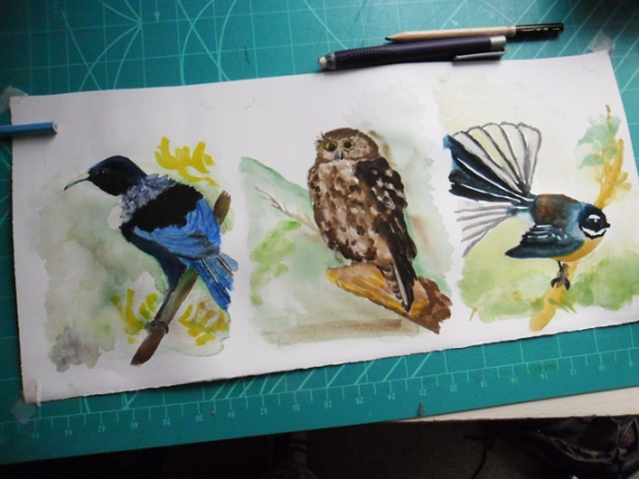 3 Native NZ Birds in Watercolour