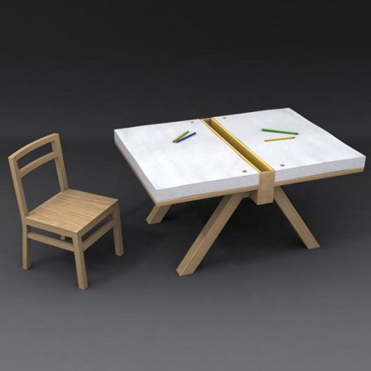 Drawing table furniture design for two children kids for Art table design
