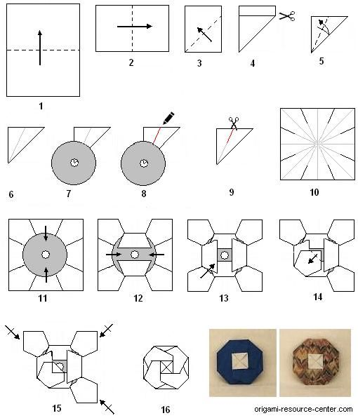Instructions to make an origami fold yourself cd cover for Craft work with paper folding