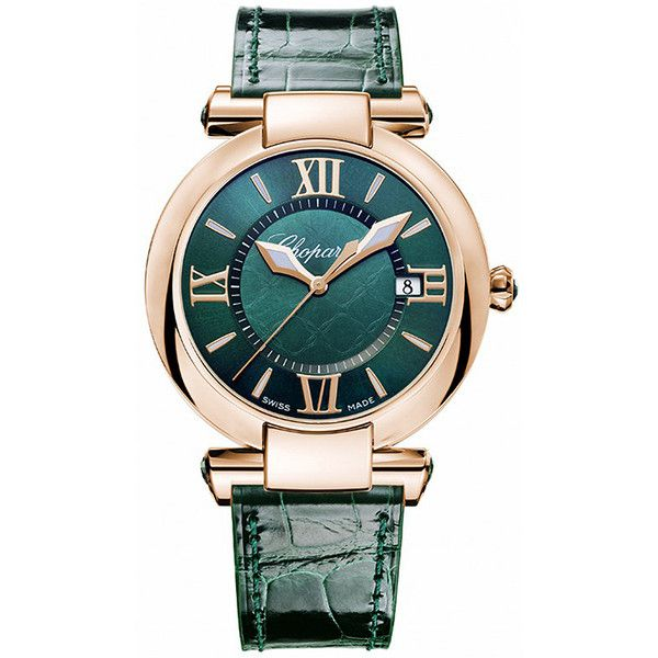 Chopard Imperiale Quartz 36mm 384221-5013 Watch (87 255 SEK) ❤ liked on Polyvore featuring jewelry, watches, green dial watches, chopard, chopard watches, green watches and quartz jewelry
