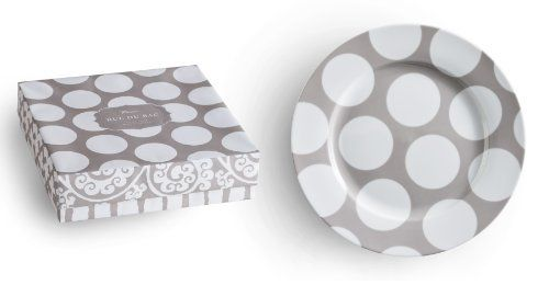 Rosanna Rue Du Bac, Dinner Plate, Set of 4 by Rosanna Imports, Inc. $55.00. Dinner plates, set of 4. Microwave and dishwasher safe. 10 1/2-inch  dinner plates, set of 4, polka dots. This is made of porcelain. Item pacakaged in a gift box. Mix and match these globally inspired patterns for a sophisticated tabletop in subtle driftwood hues. Rue Du Bac,  Dinner Plate, Set of 4 , Polka Dot Pattern
