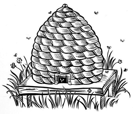 Ausmalbild Bienenkorb