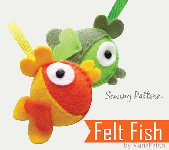 DIY Felt Fish PDF Sewing Pattern Felt Fish by Mariapalito on Etsy,