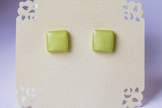 Light yellow studs yellow earrings small  post от JewelryBest