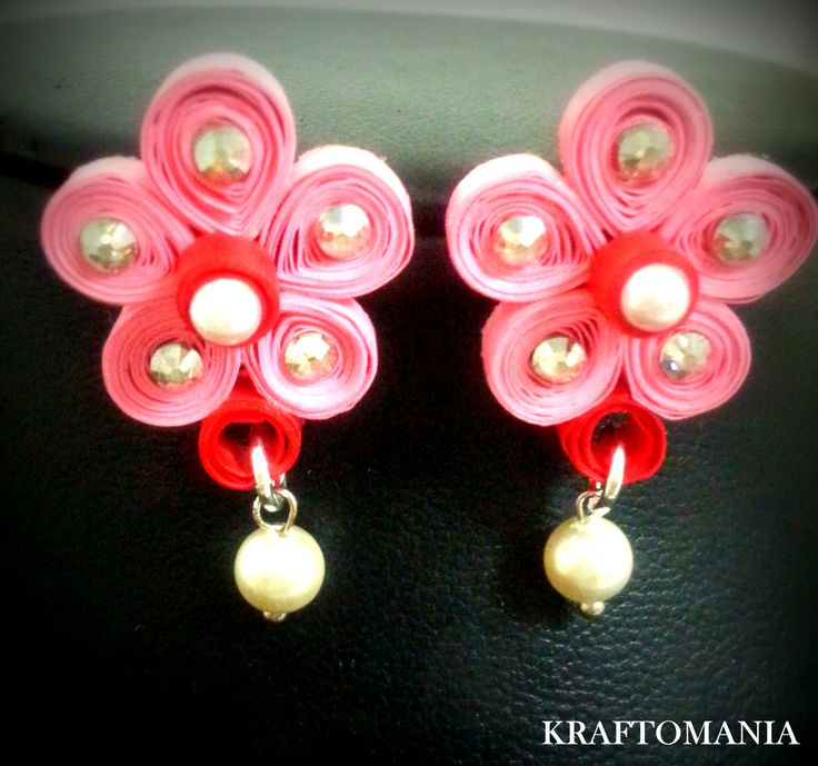 Handmade waterproof quilled earrings material : acid free paper with swarovski flat base and pearls  KM Q47