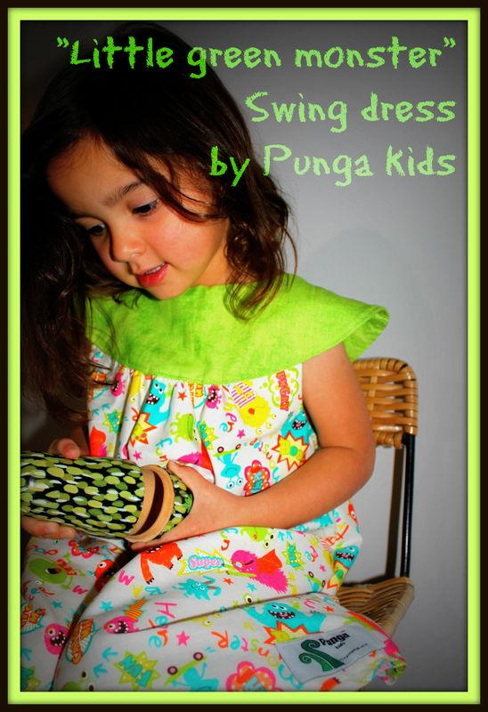 Punga kids - Little green monster girls swing dress  love the colour monsters of lime, orange, pink, blue & yellow they look hand drawn on with felt tip marker pens. Handmade in New Zealand