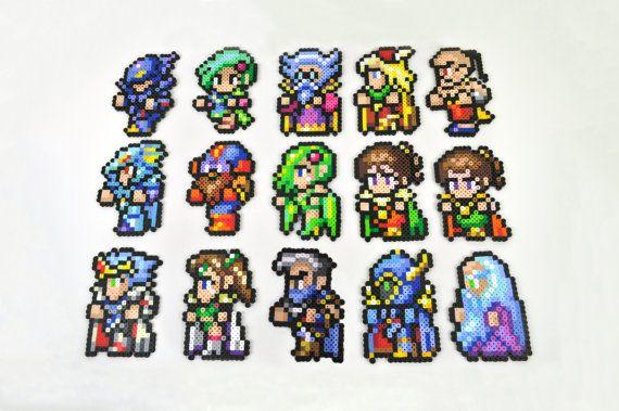Final Fantasy IV Complete Character Perler Bead Magnet Set