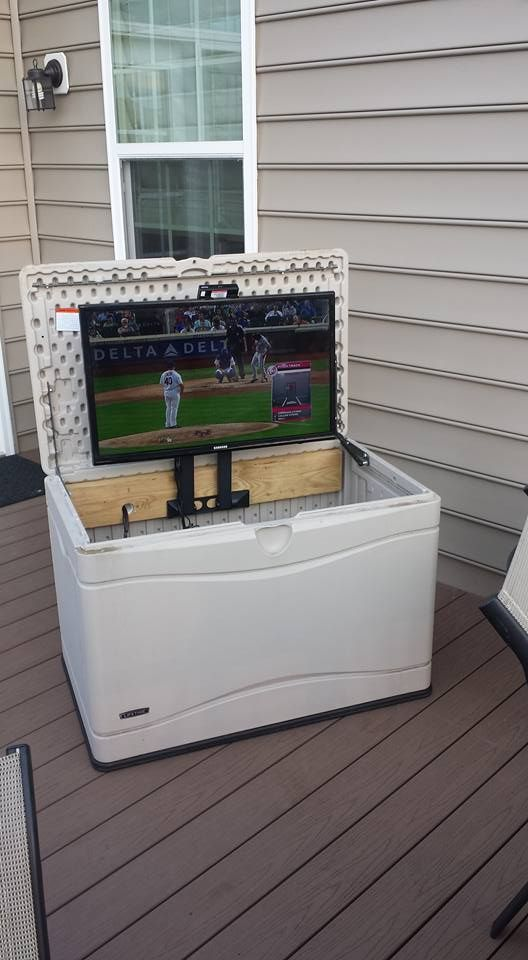 I Wanted A TV On The Deck. Converted A Deck Box To Hold The TV And Used A  Swing Away TV Mount Turned On Its Side To Fold The TV Down Into ...