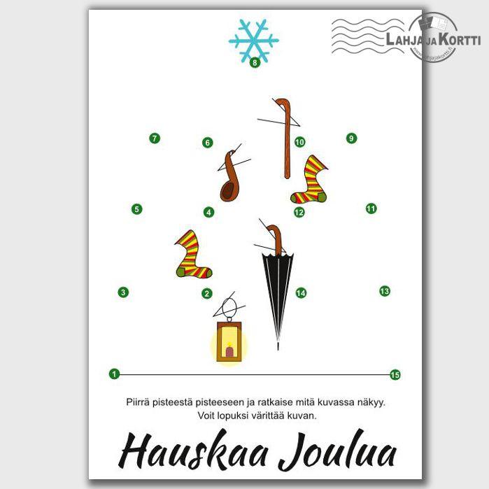 Joulukortti, jossa pisteestä pisteeseen tehtävä, josta paljastuu joulukuusi hassuilla kortisteilla. Kortti joka on enemmän kuin vain kortti.