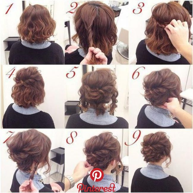 Casual Updos For Short Hair Shortcurlyhair Short Hair Up Medium Hair Styles Short Hair Updo