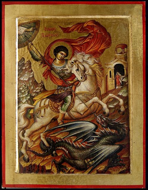 "Saint George and the Dragon  ""Saint Georgios"" Greek Orthodox Icon. This icon is a copy of a 19th century icon that is located in the church of Transfiguration at the island of Kefalonia in Greece. This icon is painted on canvas, and attached to solid wood. In hagiography we use colors in powder form mixed with the special traditional pigment of egg tempera. Handmade in Greece using the old traditional techniques by Evangelopoulos Icons. Approx. Dimensions: 15 ¾"" x 12""."