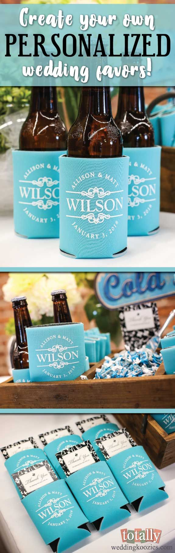 Create your own personalized #wedding favors with Totally Wedding Koozies and our easy online design tool! We offer over 800 customizable artwork templates, 6 styles of koozies & 45 product colors, your options are endless as we can coordinate and match any wedding! Use coupon code PINFREESHIP and receive FREE Ground Shipping in the Continental United States! Code is not valid with other coupon codes and is valid through April 4, 2017!