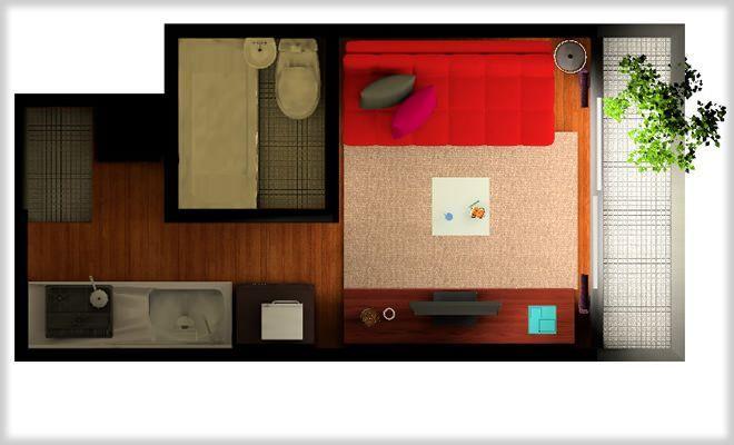 居住スペースが実質6,7㎡程度しかない狭い縦長ワンルームの部屋に、大胆にもソファーを配置したレイアウト例です。 大きい家具を置くからには、その他のポイントで収納などを工夫したり、空間が新鮮に見えるような工夫を考えると良い …